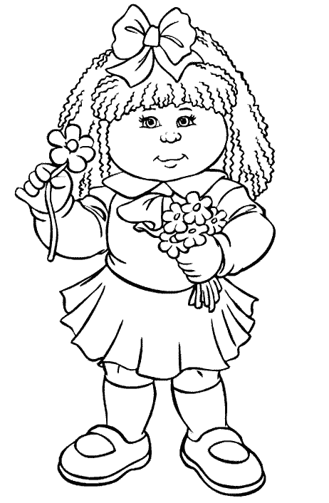 Cabbage Patch Kids Holding Flowers Cabbage Patch Kids Coloring