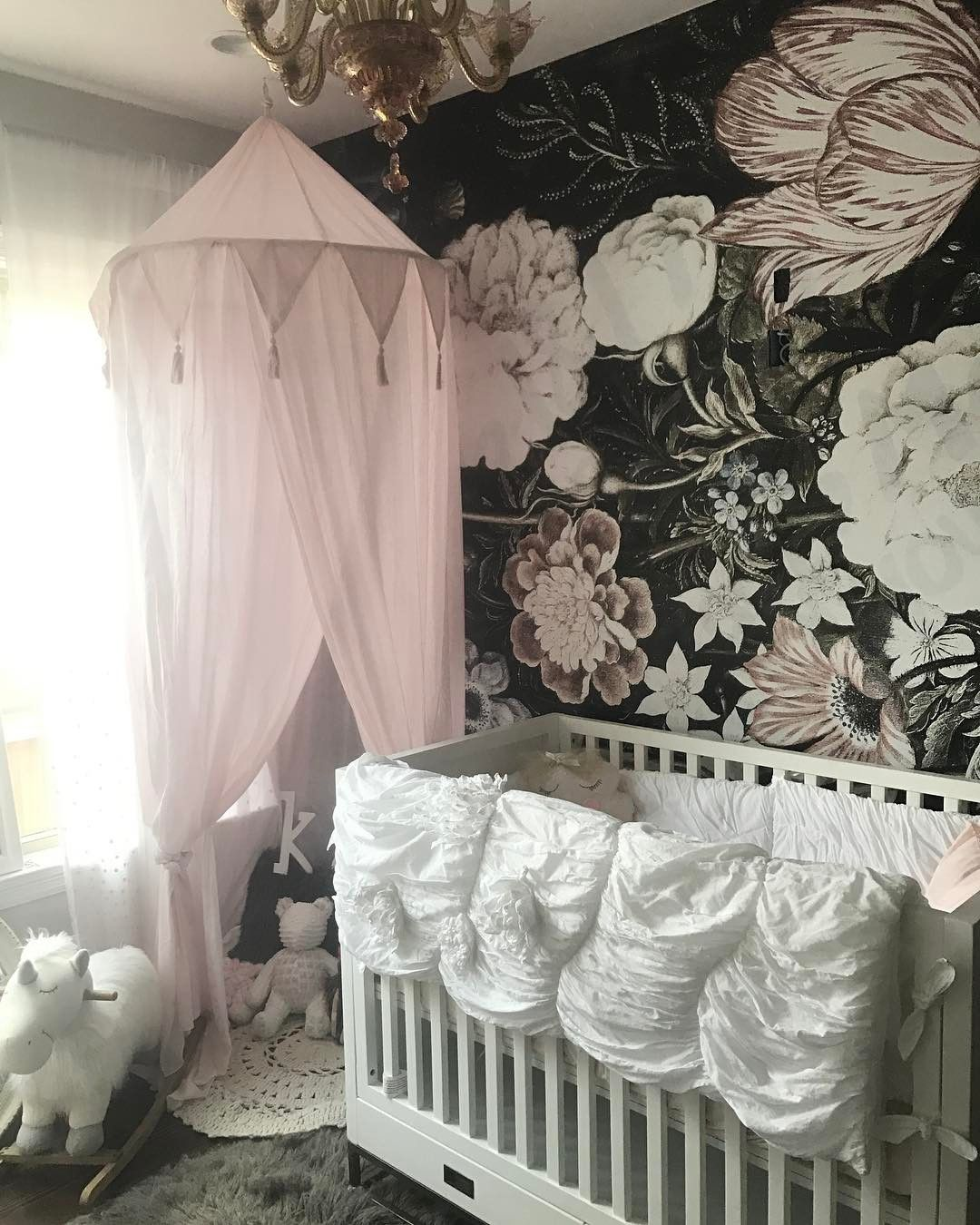 Stylish Vintage Nursery Decor   An Idea How To Use A Removable Wall Mural  In An