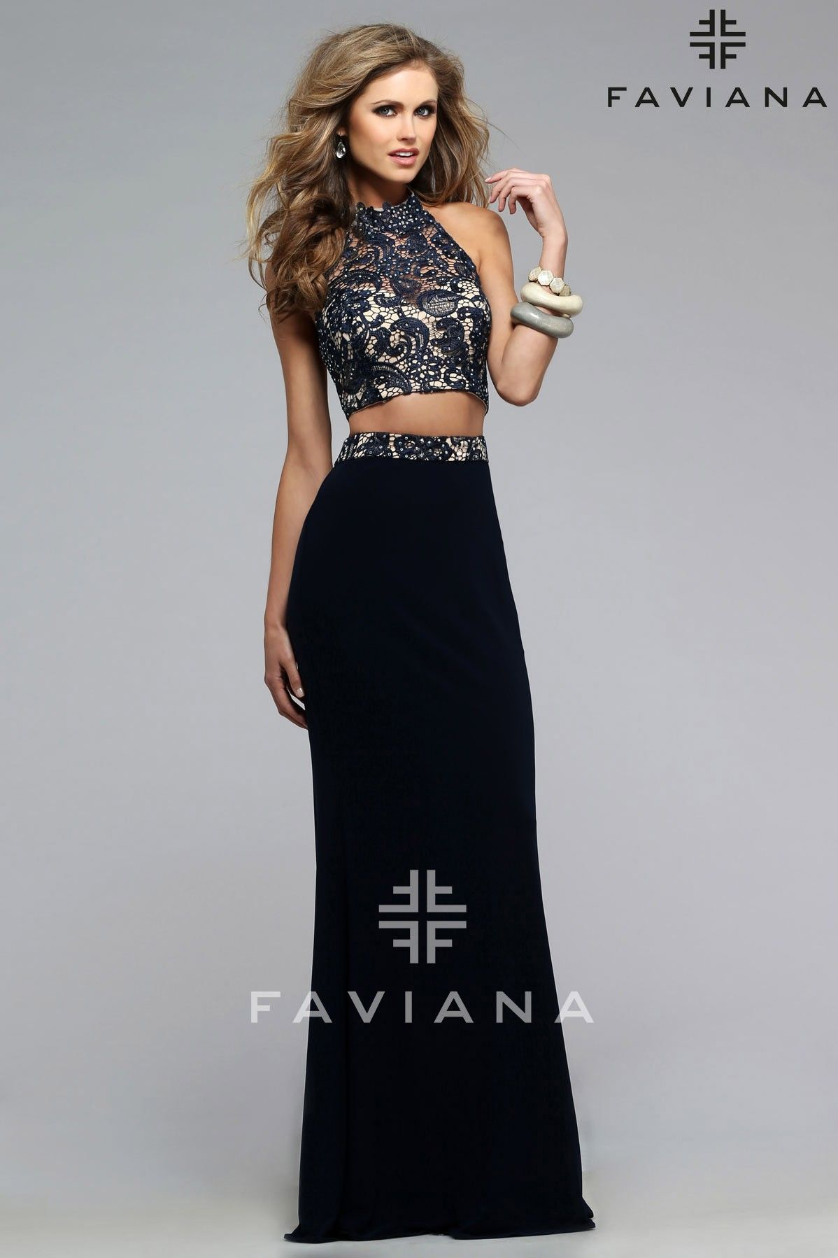 Twopiece lace evening dress with high neck faviana style