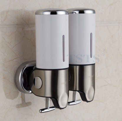 Zuwit Double Wall Mount Soap Dispenser Hand Bathroom Kitchen Liquid Foam Lotion Bottle Shampoo