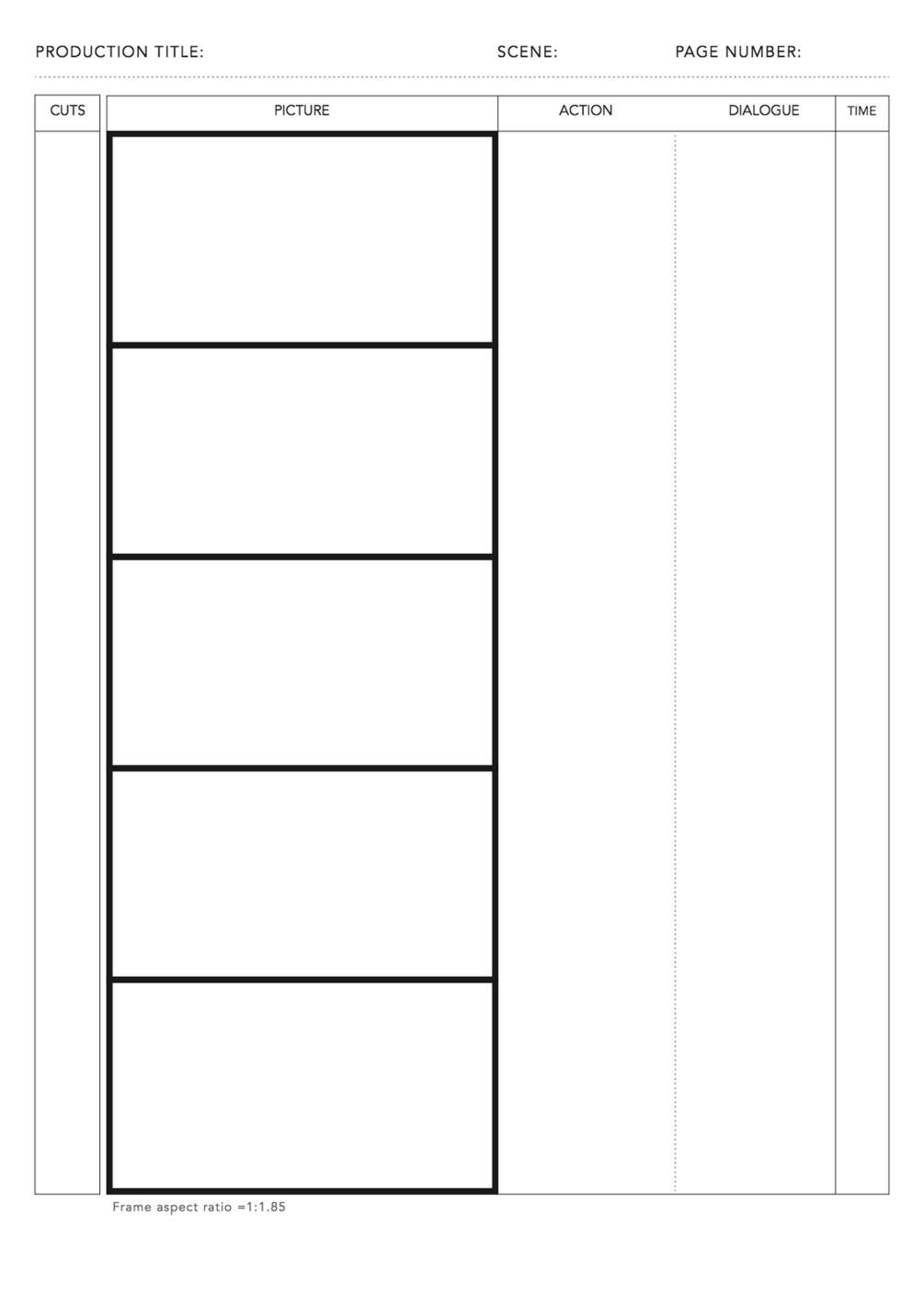 free pdf anime storyboard template for 1 85 1 aspect ratio