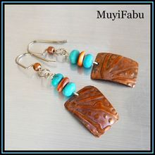 Turquoise and Spiny Oyster Copper Embossed Earrings