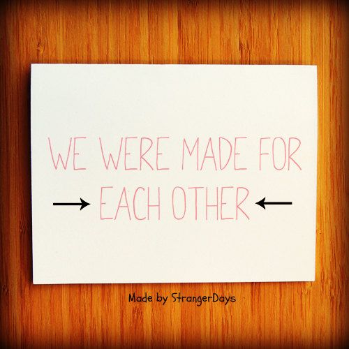 Anniversary card we were made for each other i love you card anniversary card we were made for each other i love you card greeting card boyfriend card wife card thinking of you 350 via etsy m4hsunfo Gallery