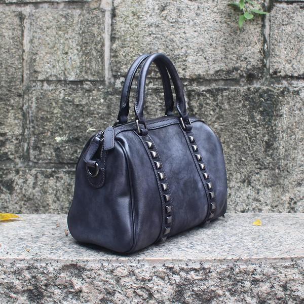 f94ddf5e08165 Handcrafted Women's Fashion Leather Handbag Shoulder Bag Small Satchel in  Navy Blue QX03 - LISABAG