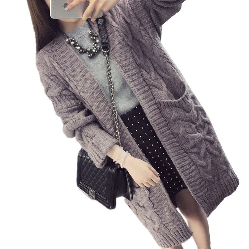 2017 New Autumn Winter Cardigan Sweater Coat Women Thick Twist ...
