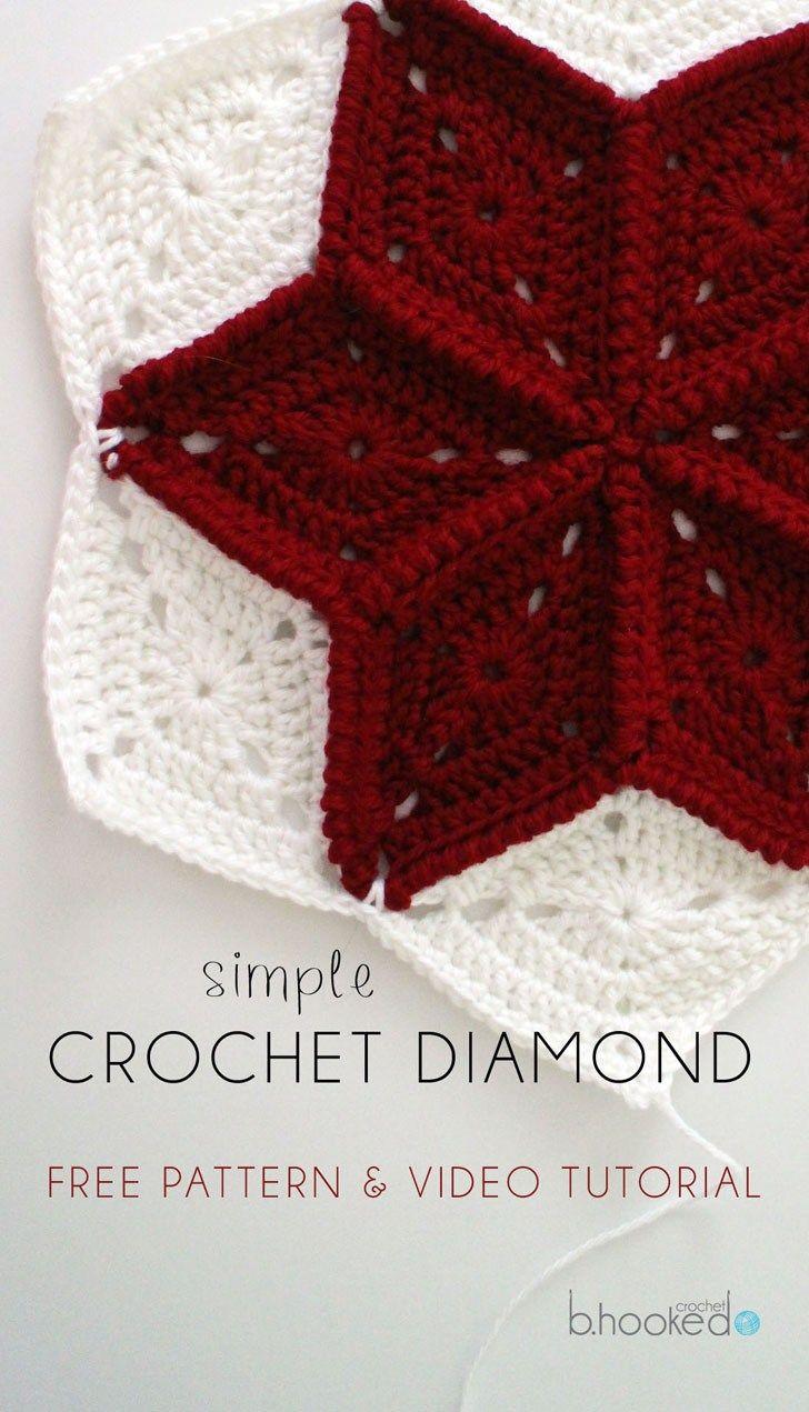 Crochet Diamond Granny Square Free Pattern Tutorial Bhooked