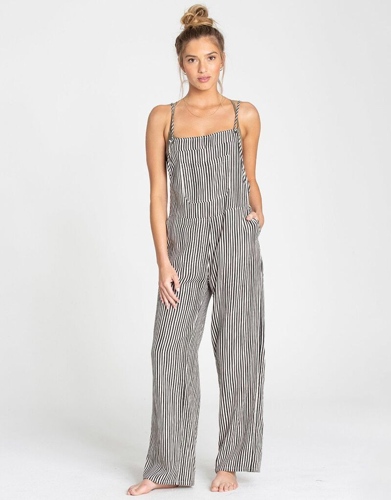 0e40813b5af800 BILLABONG WOMENS WILD LENGTHS OVERALLS - Whalebone Surf Shop - Striped wide  leg jumpsuit cover up