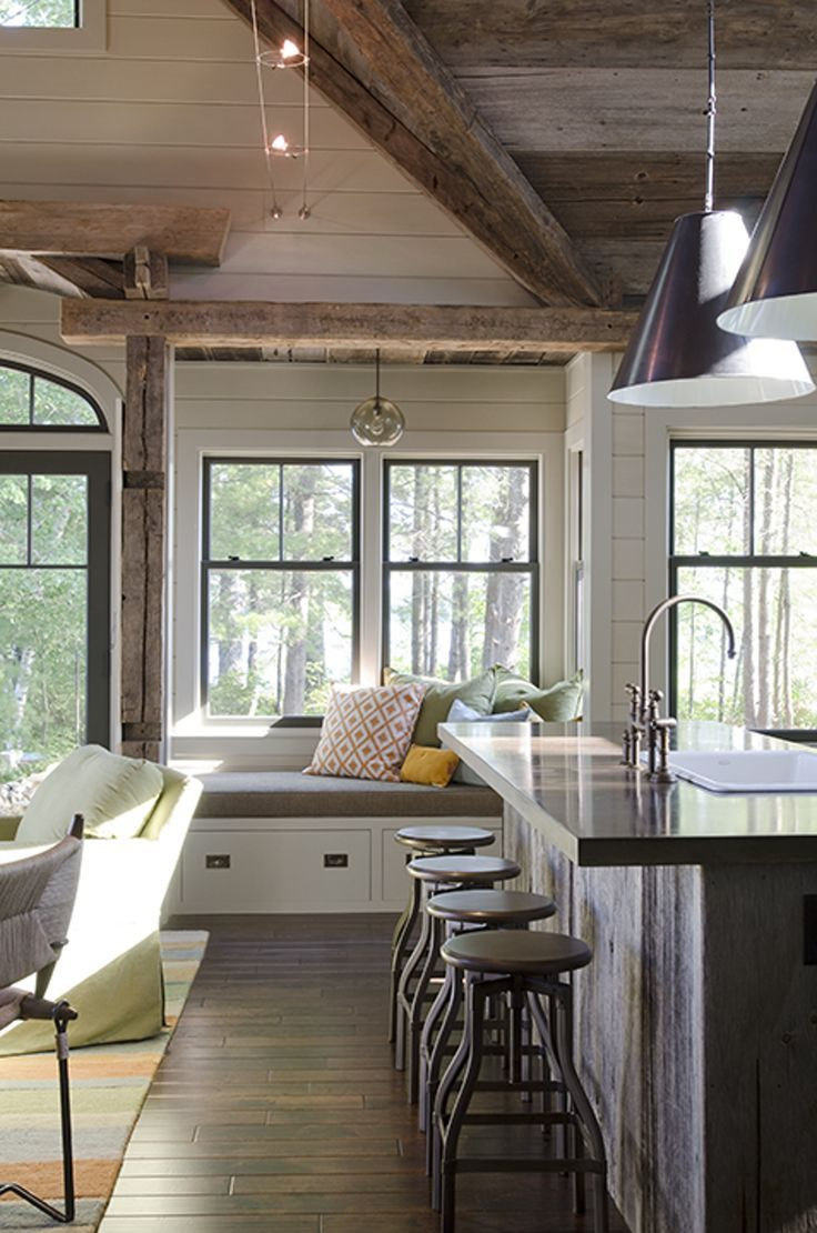 modern farmhouse kitchen nook love the rustic wood beams and the window seat with black framed on farmhouse kitchen window id=97041