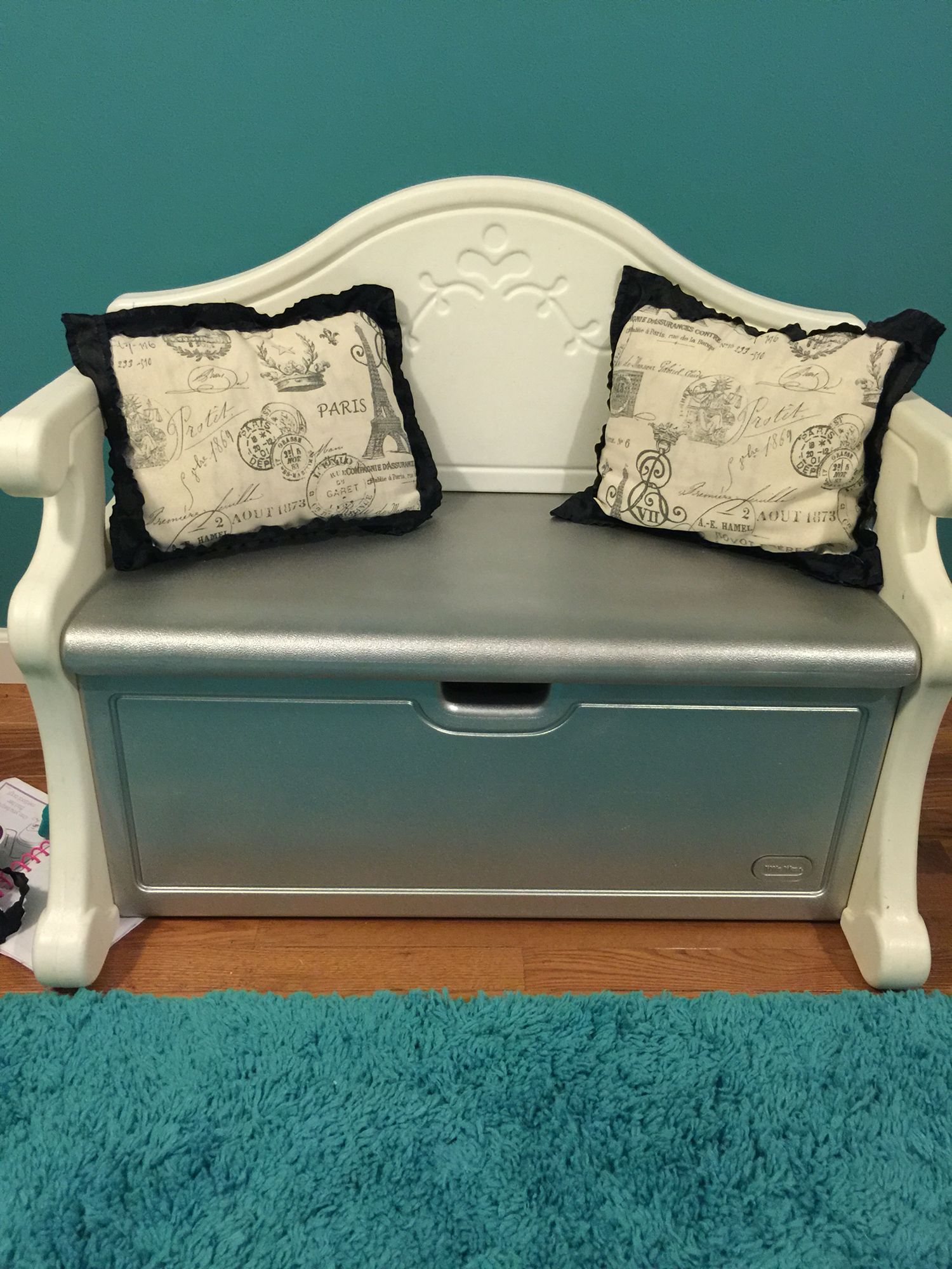 Magnificent Little Tikes Bench Makeover I Painted The Pink Parts Silver Ocoug Best Dining Table And Chair Ideas Images Ocougorg