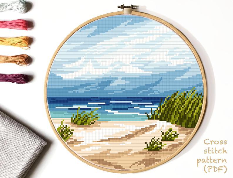 Modern Nature Cross Stitch Pattern Landscape Sea Beach Watercolor Easy Cross Stitch Embroidery Instant Download Pdf