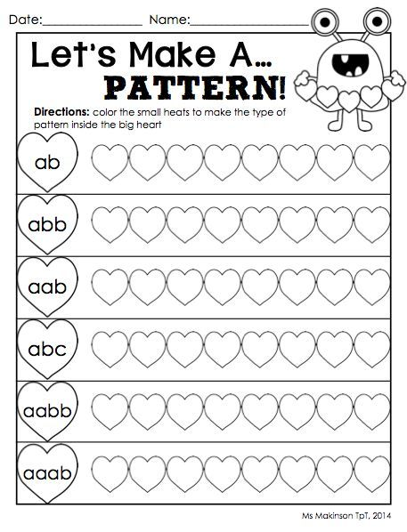 AAB and ABB Patterns | Worksheets, Activities and Students