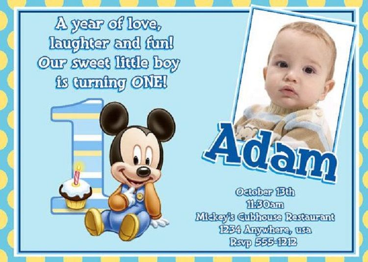 Baby Mickey Mouse 1st Birthday Invitations Invitation