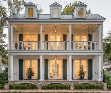traditional southern home, metal roof, two story porch, dormers