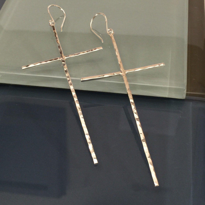 Long Cross Earrings Sterling Silver