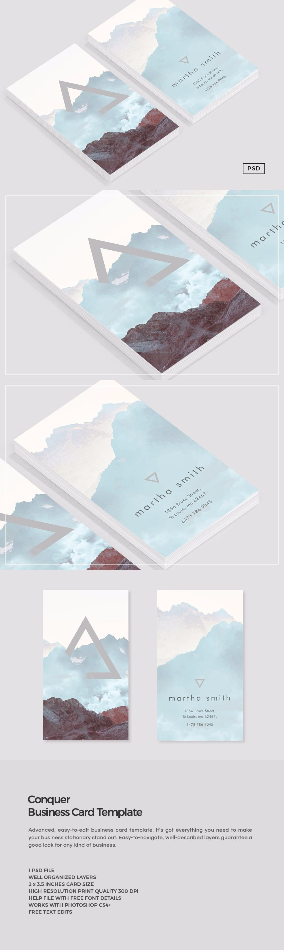 Conquer business card template pinterest cartes de visita conquer business card psd template for photoshop its suitable for a variety of fields reheart Gallery