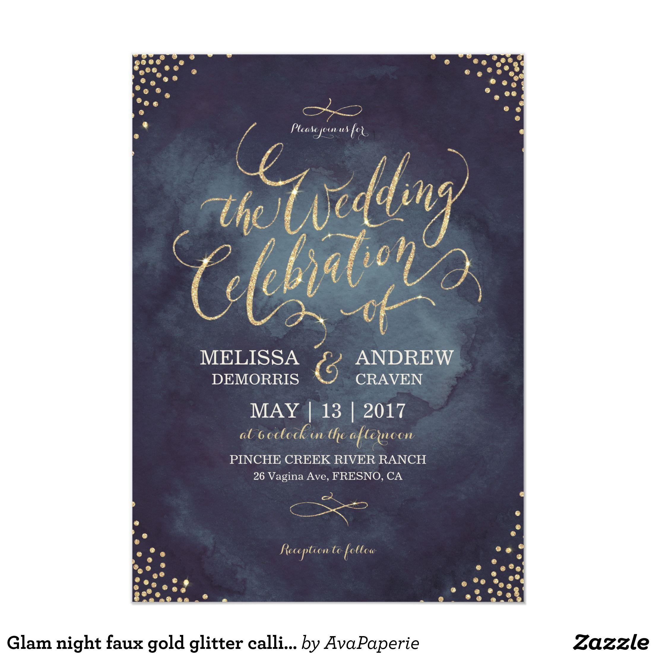 Glam night faux gold glitter calligraphy wedding card   結婚式(招待 ...