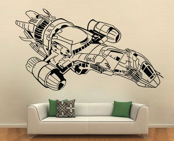 firefly serenity spaceship vinyl wall art decal | kitschy crafty