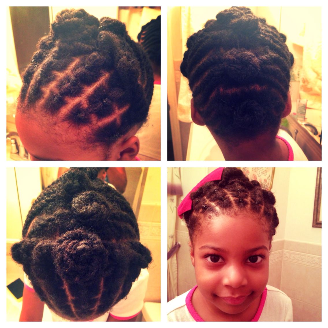 kids natural hair style - flat twists - pin curls - updo