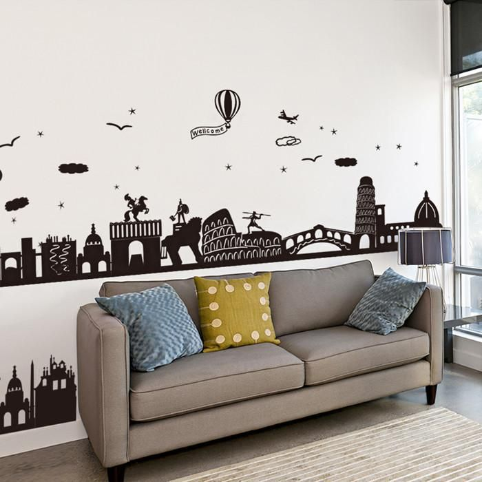 [SHIJUEHEZI] Black Color City Buildings Baseboard Sticker PVC Material Wall  Sticker For House Decoration