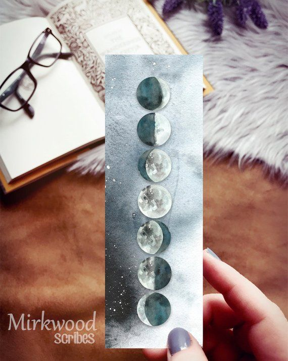 Moon Phases Bookmark, Lunar Phases of the Moon Bookmark, Zodiac Night Sky Celestial Bodies Bookmark #favoriteplaces