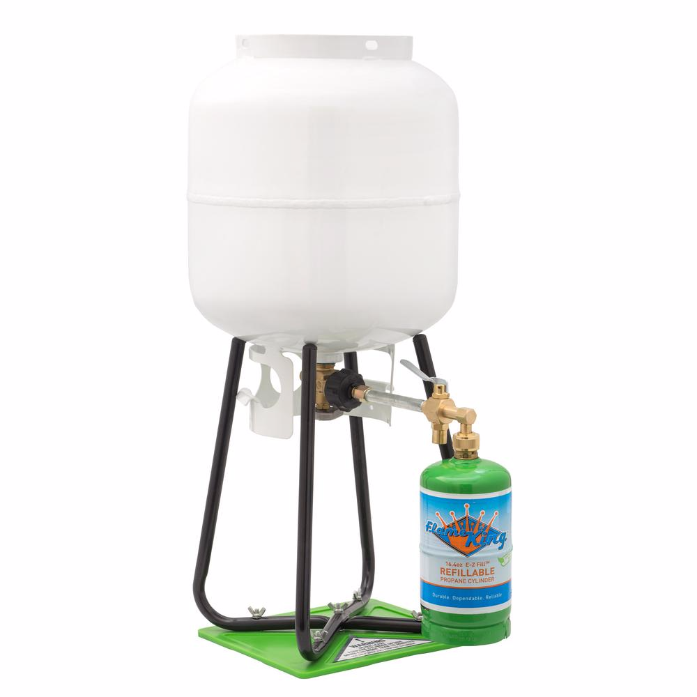 Flame King 1 Lb Refillable Propane Cylinder With Refill Kit Ysn1lbkt The Home Depot Propane Cylinder Forklift Propane Tank Propane
