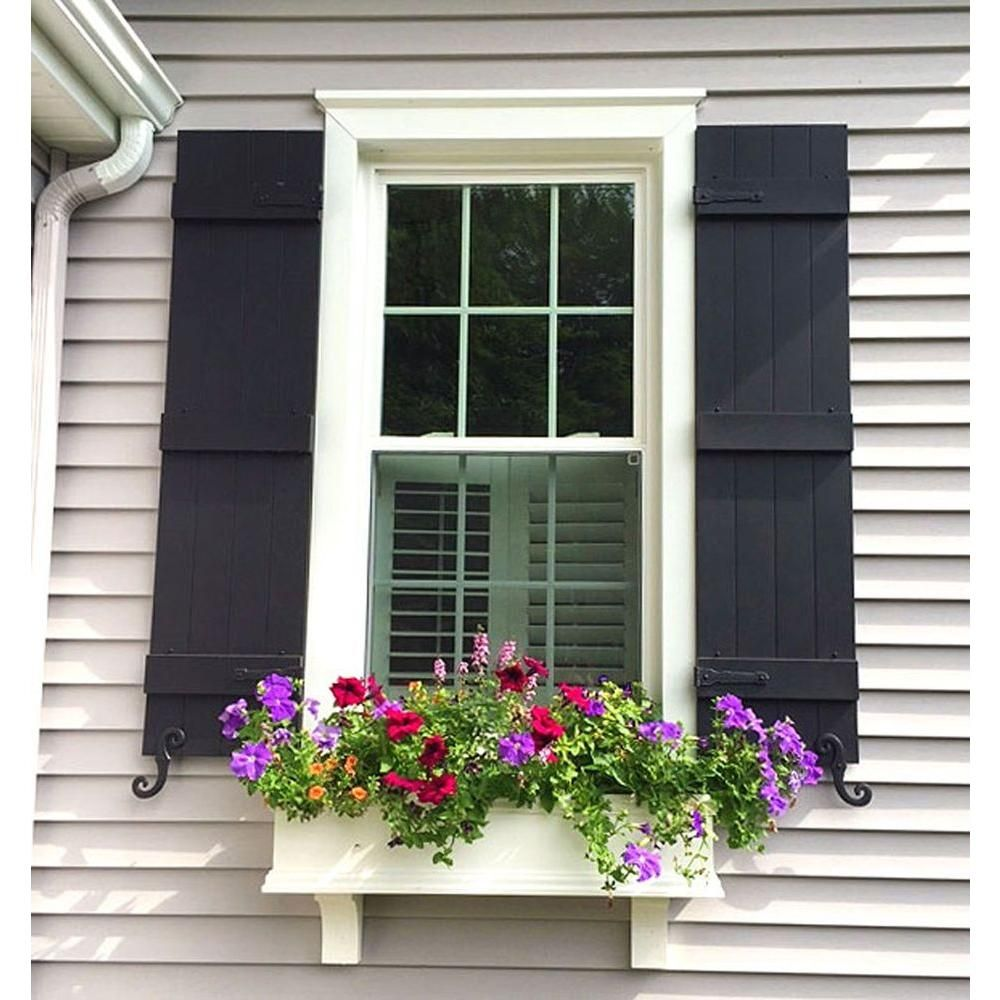 Lifetime Vinyl Standard Four Board Joined Board And Batten Shutters Pair  Forest Green   LJ4S14X06300FG   The Home Depot