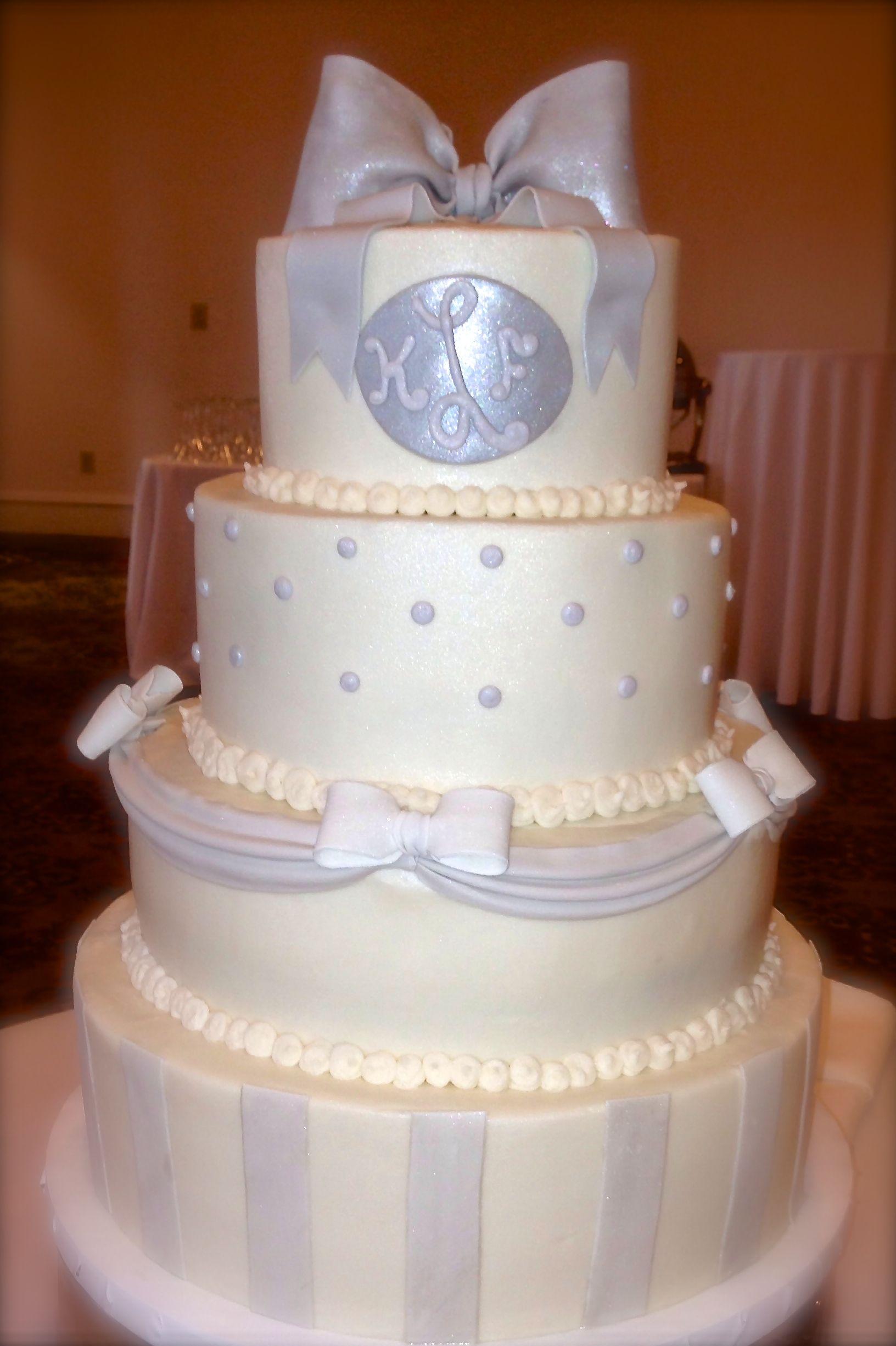Silver and ivory wedding cake weddingcakeinspiration