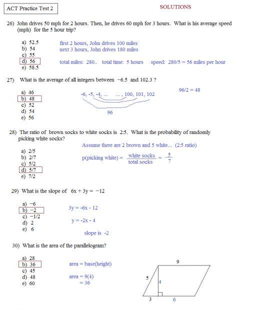 12 Act Math Review Worksheet - - # ...
