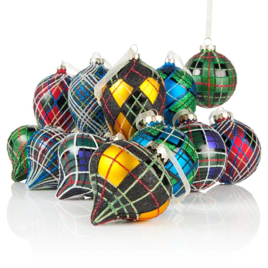 Jeffrey Banks 12-piece Tartan Plaid Ornaments with Storage ...