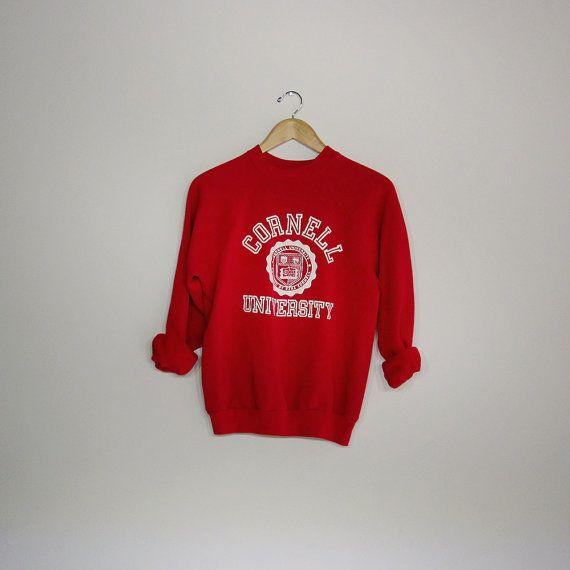 80s Vintage Cornell Sweatshirt Red Cornell University Hipster