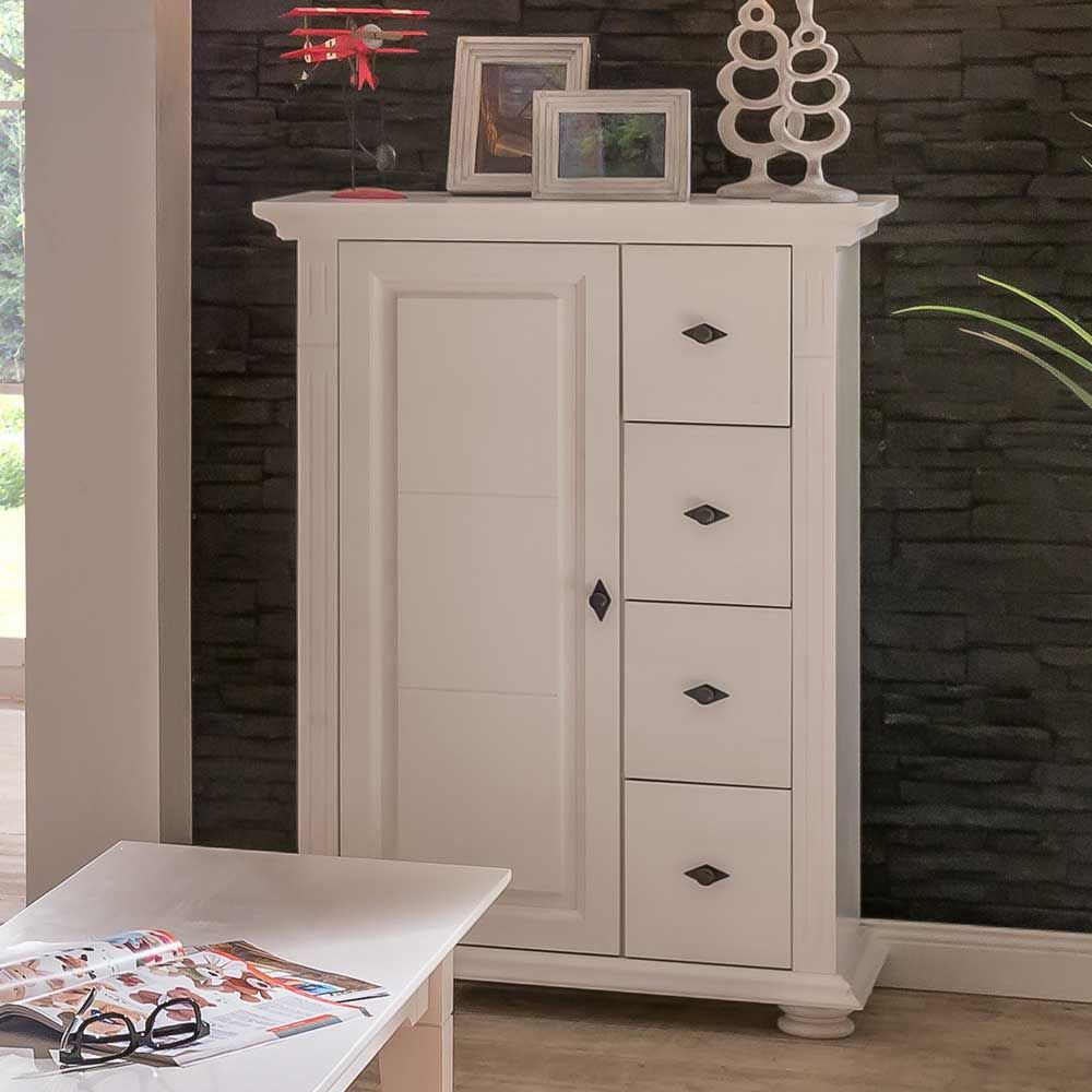 landhaus kommode in wei fichte massiv kommode flurkommode. Black Bedroom Furniture Sets. Home Design Ideas
