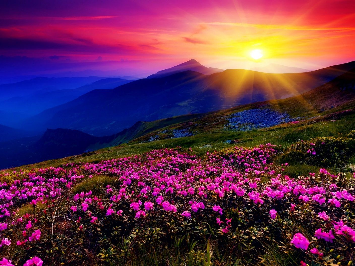 Colorful Mountain Sunrise Unknown Location 1408 X 1056 Mountain Landscape Valley Of Flowers Beautiful Landscapes