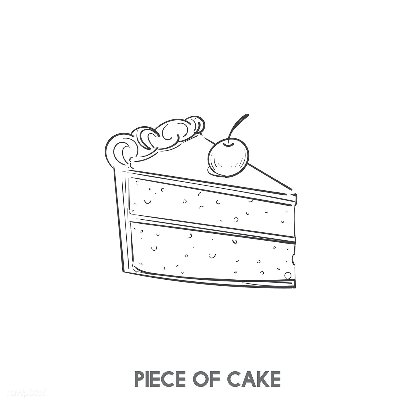 Download Premium Vector Of A Piece Of Cake 402757 Cake Icon Cake Vector Cake Drawing