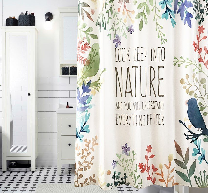 Look Up In To Nature Shower Curtain Waterproof Mildewproof Polyester Fabric Bath Curtain Bathroom Product With 12 Shower Curtain Curtains Cheap Shower Curtains