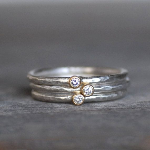 Tiny Diamond Ring Set  18k Gold and Silver Stack Rings  Set