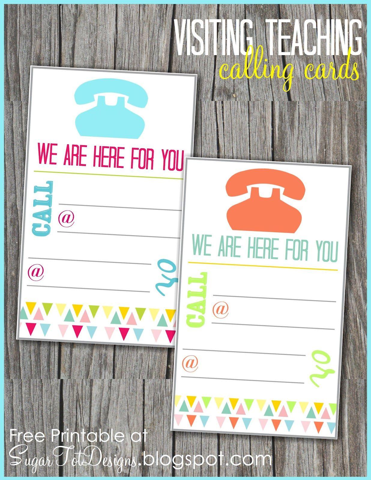 Visiting Teaching Message Calling Card- free printable