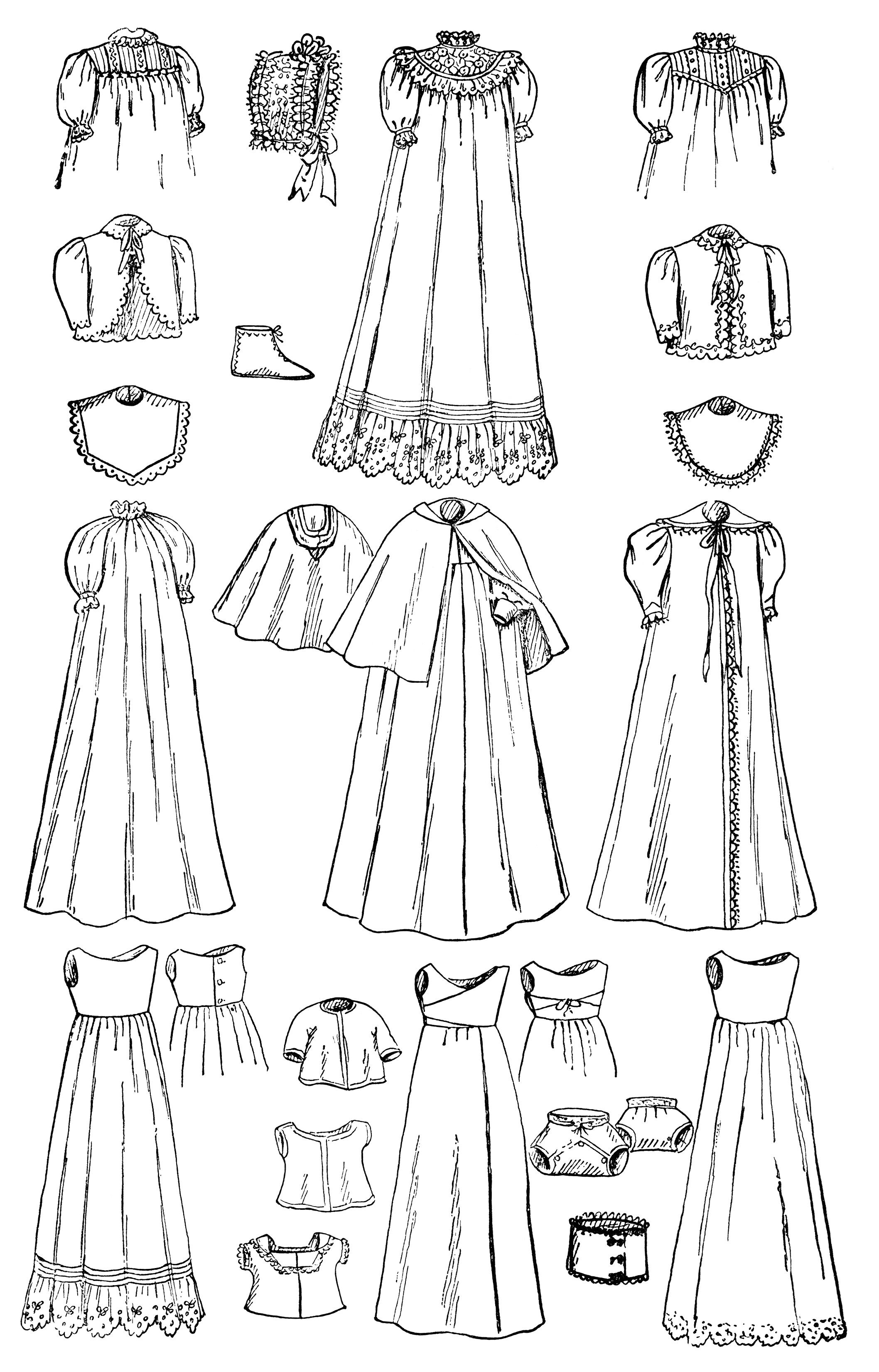 Wardrobe clipart black and white  vintage baby clip art, black and white graphics, infants wardrobe ...
