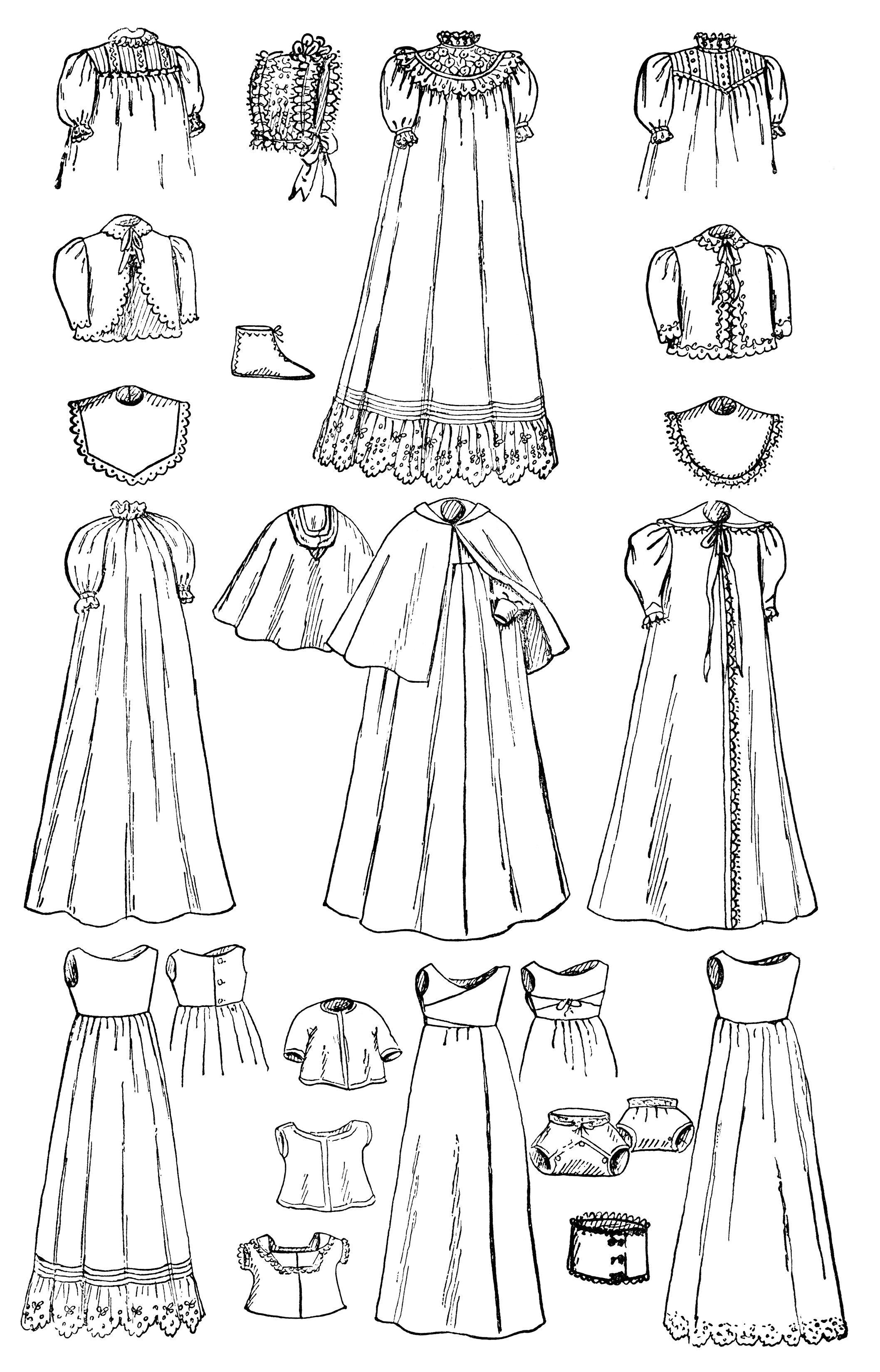 Vintage Baby Clip Art Black And White Graphics Infants Wardrobe Illustration Antique Magazine