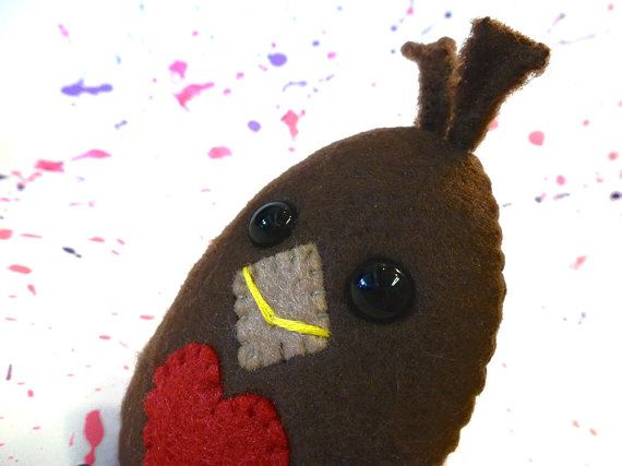 Cute Plush Robin  Brown Bird Plush  Valentine's by mintconspiracy