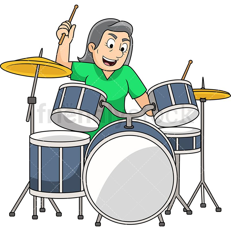Old Woman Playing Drums With Images Drums Cartoon Drum