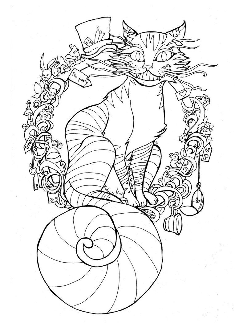 Puuurrfect Time For Tea Lineart Animal Coloring Pages Cat Coloring Page Dog Coloring Page [ 1048 x 763 Pixel ]