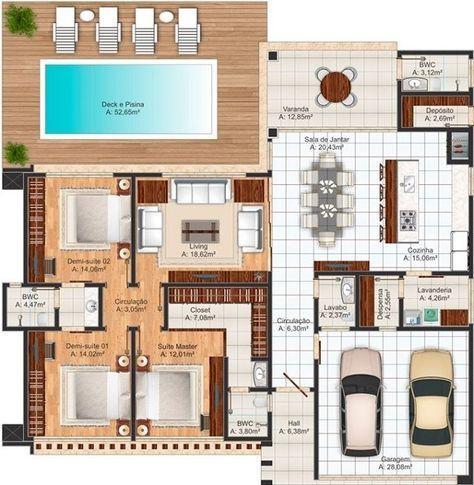 Projeto Arquitetônico: Casa Osasco U2022 Cód. 113 U2022 R$ 1.060,00 | House Plans  Design, Modern House Plans And Plan Design