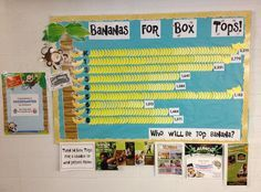 Bananas for Box Tops bulletin board; The final bulletin board shows the year-end counts from each class. Info from our prize donors are displayed below the board.