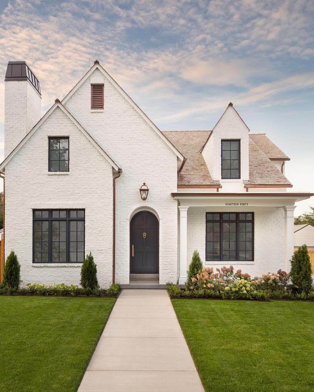 Pin By Shelli Huffman Vasquez On Great View From The Curb Tudor House Exterior House Exterior White Brick Houses