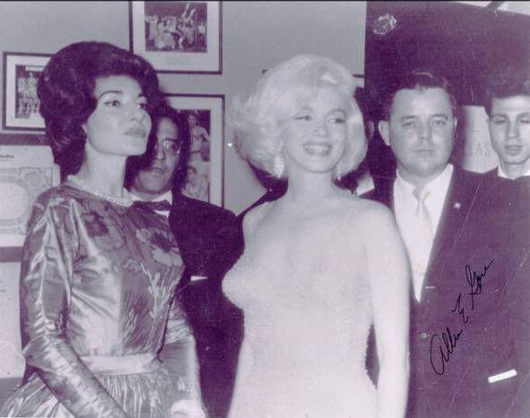 Marilyn at JFK's birthday posing with opera star Maria Callas