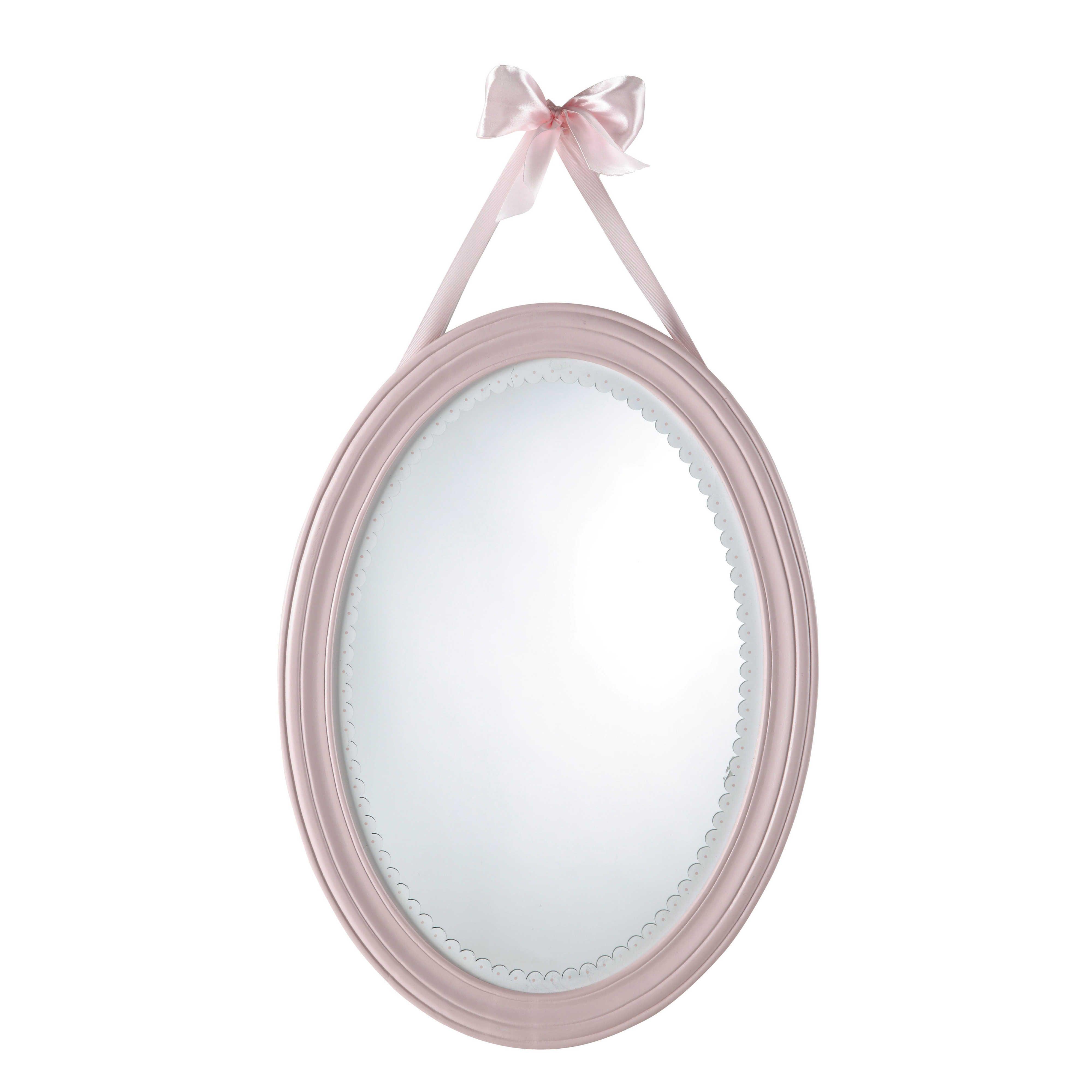 Miroir ovale en bois rose H 55 cm | chambre Lola | Pinterest ...