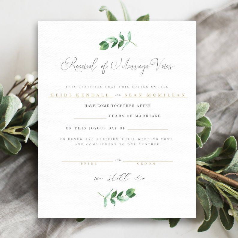 Printable vow renewal certificate marriage certificate