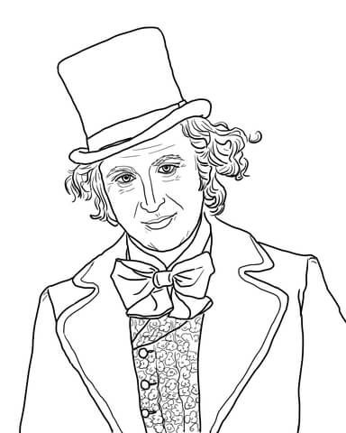 Willy Wonka with Gene Wilder coloring page from Charlie
