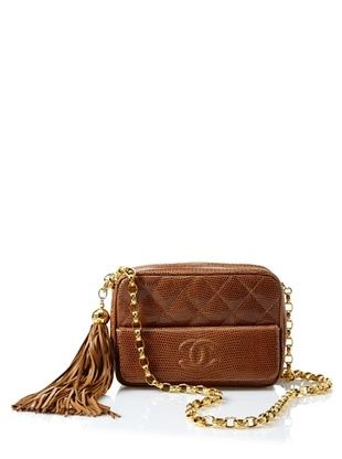 CHANEL Vintage Lizard-Embossed Tassel Camera Bag (Butterscotch)