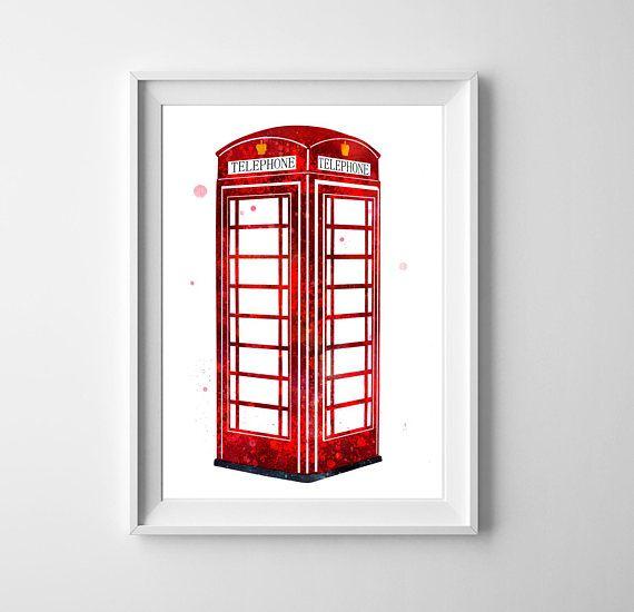 Red Phone Booth Art Telephone Box Print London British Decor